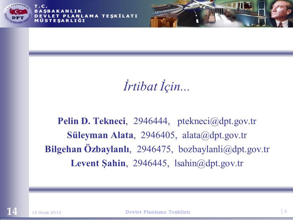 İrtibat İçin... Pelin D. Tekneci, 2946444, ptekneci@dpt.gov.tr