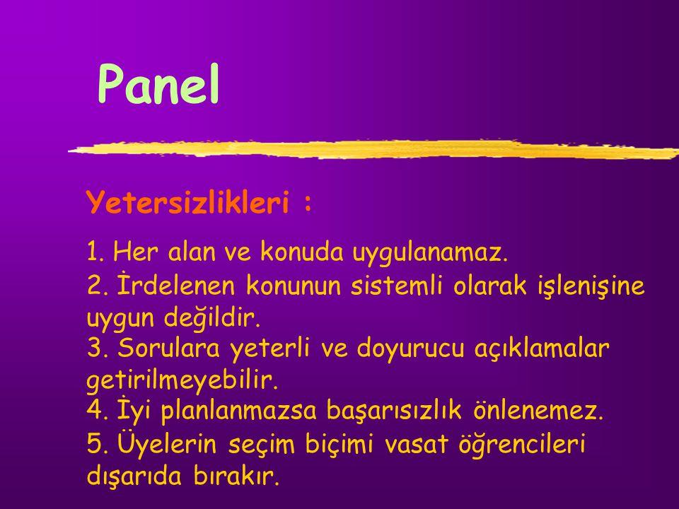 Panel Yetersizlikleri : 1. Her alan ve konuda uygulanamaz.