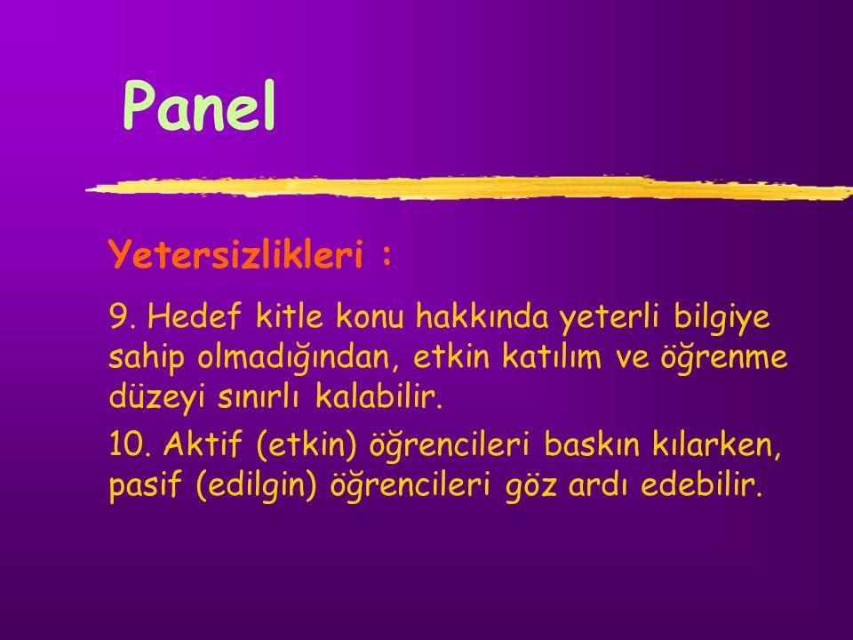 Panel Yetersizlikleri :
