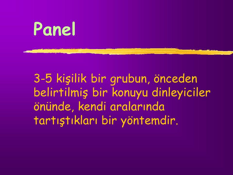 Panel 3-5 kişilik bir grubun, önceden belirtilmiş bir konuyu dinleyiciler önünde, kendi aralarında tartıştıkları bir yöntemdir.