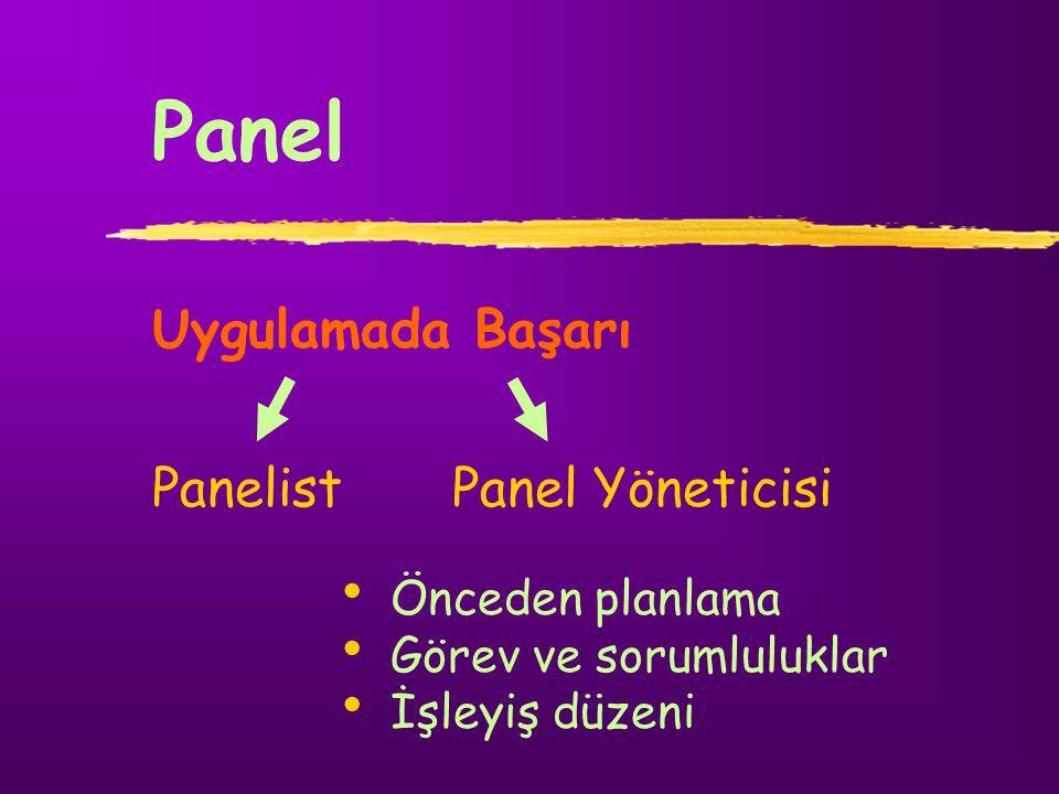Panel Uygulamada Başarı Panelist Panel Yöneticisi Önceden planlama