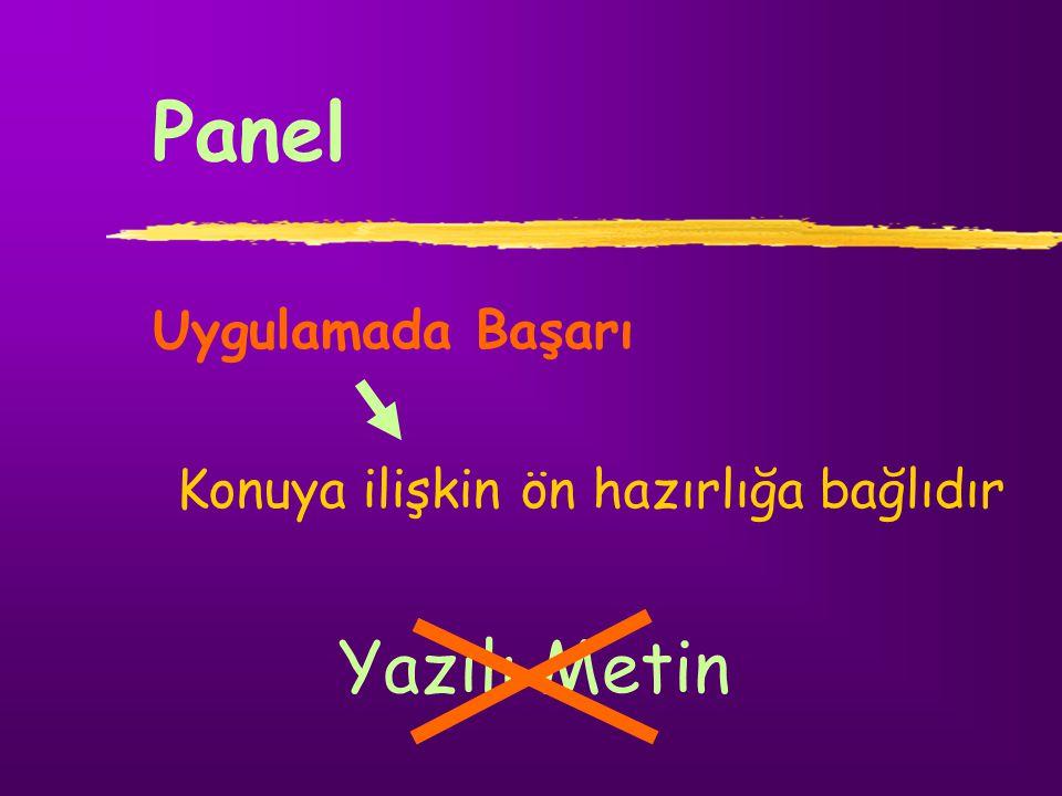 Panel Yazılı Metin Uygulamada Başarı
