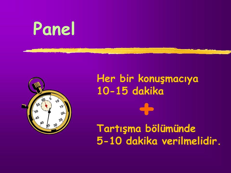 + Panel Her bir konuşmacıya 10-15 dakika Tartışma bölümünde