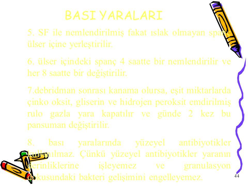 BASI YARALARI 5. SF ile nemlendirilmiş fakat ıslak olmayan spanç ülser içine yerleştirilir.