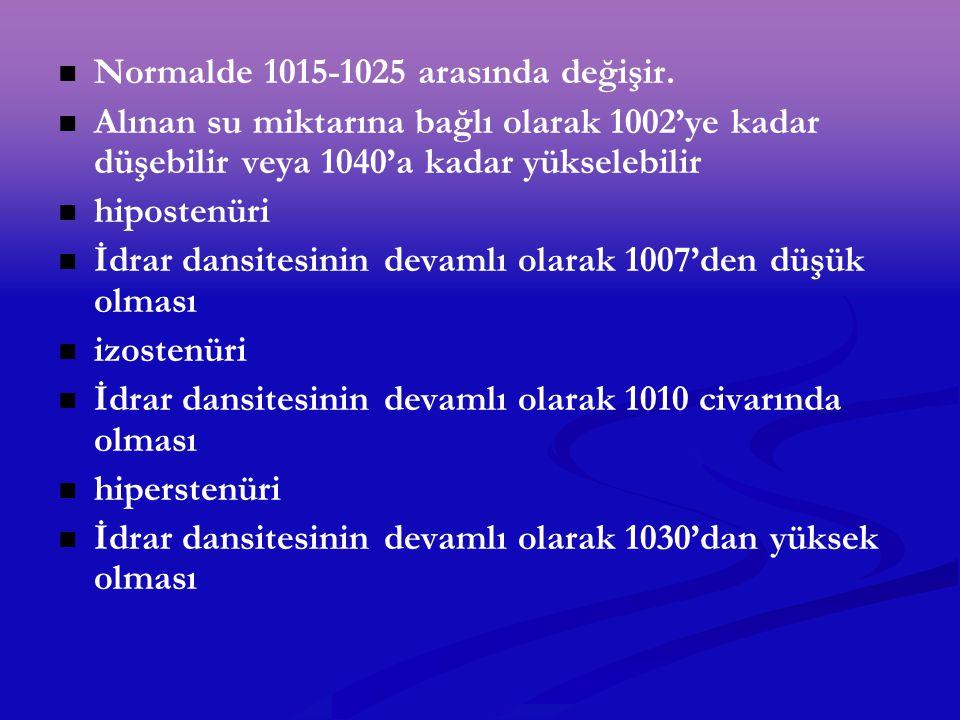 Normalde 1015-1025 arasında değişir.