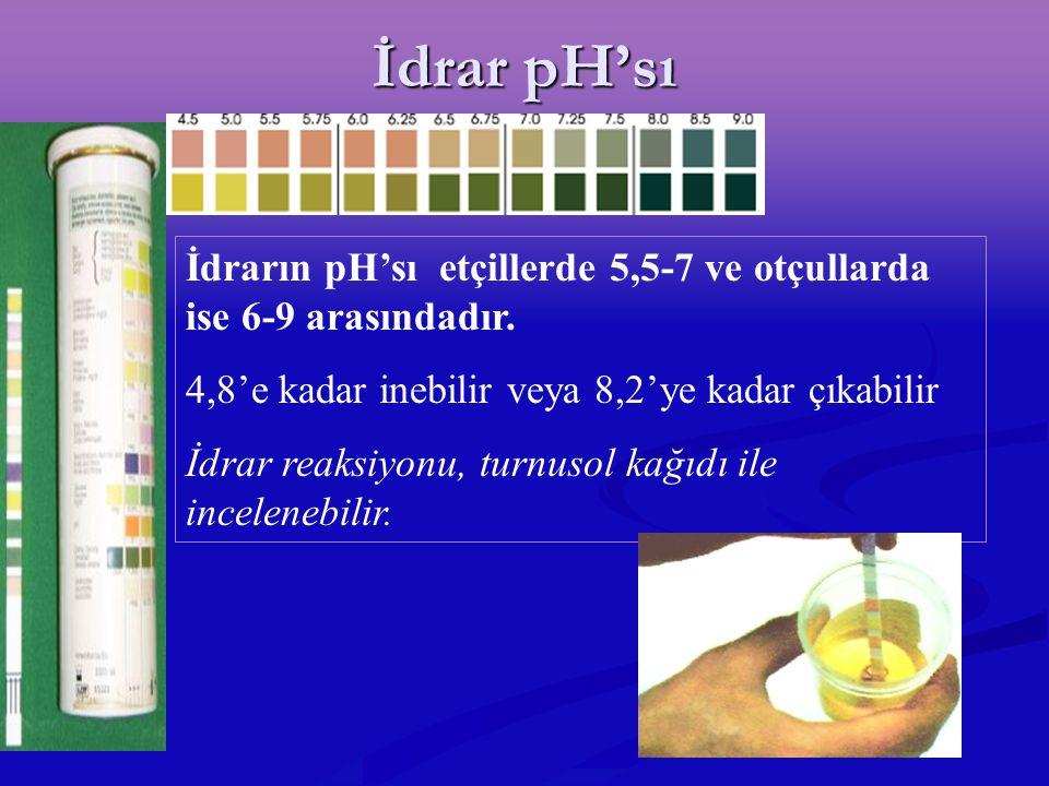 İdrar pH'sı İdrarın pH'sı etçillerde 5,5-7 ve otçullarda ise 6-9 arasındadır. 4,8'e kadar inebilir veya 8,2'ye kadar çıkabilir.