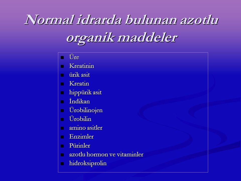 Normal idrarda bulunan azotlu organik maddeler
