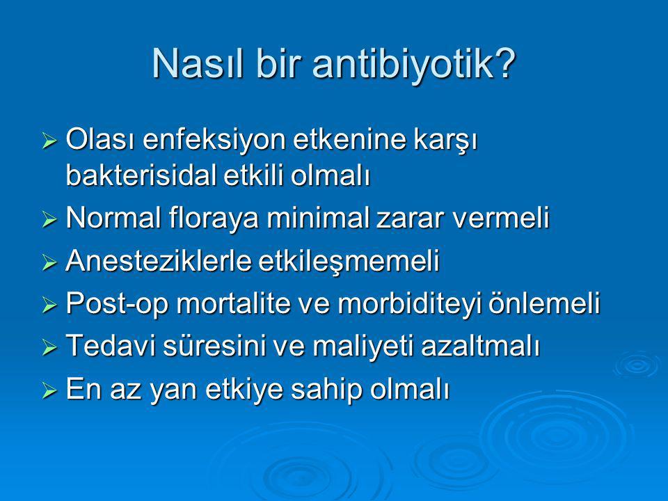 Nasıl bir antibiyotik Olası enfeksiyon etkenine karşı bakterisidal etkili olmalı. Normal floraya minimal zarar vermeli.