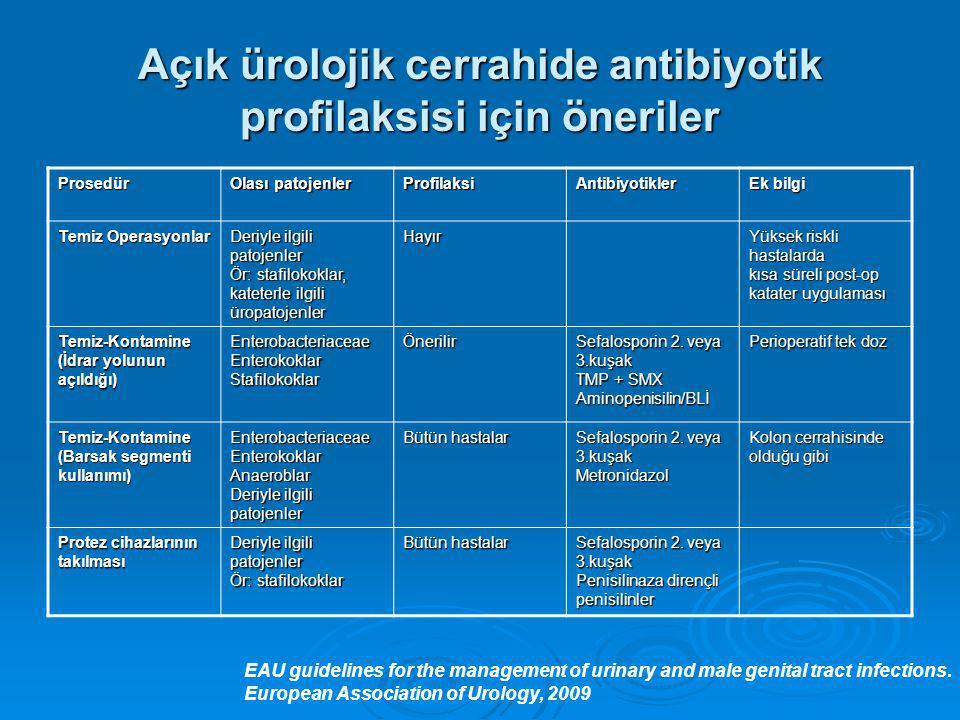 Açık ürolojik cerrahide antibiyotik profilaksisi için öneriler