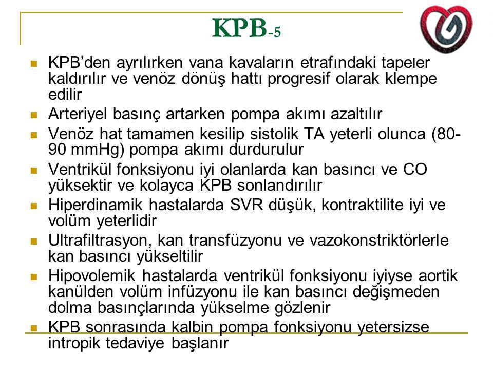KPB-5 KPB'den ayrılırken vana kavaların etrafındaki tapeler kaldırılır ve venöz dönüş hattı progresif olarak klempe edilir.