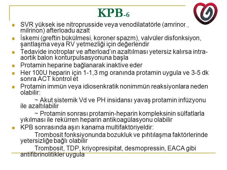 KPB-6 SVR yüksek ise nitroprusside veya venodilatatörle (amrinon, milrinon) afterloadu azalt.
