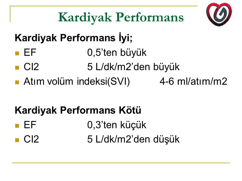 Kardiyak Performans Kardiyak Performans İyi; EF 0,5'ten büyük