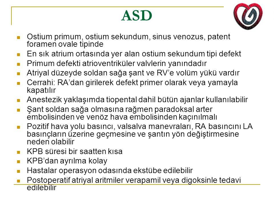 ASD Ostium primum, ostium sekundum, sinus venozus, patent foramen ovale tipinde. En sık atrium ortasında yer alan ostium sekundum tipi defekt.