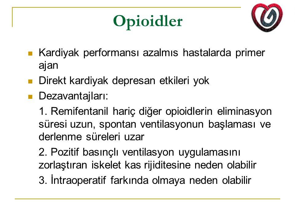 Opioidler Kardiyak performansı azalmıs hastalarda primer ajan