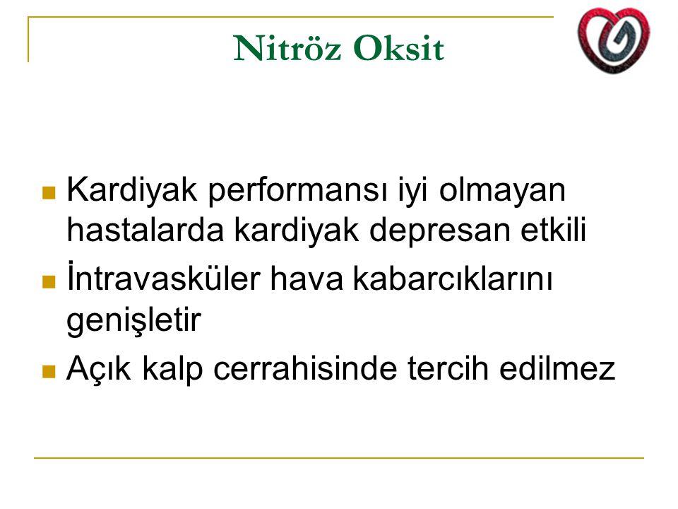 Nitröz Oksit Kardiyak performansı iyi olmayan hastalarda kardiyak depresan etkili. İntravasküler hava kabarcıklarını genişletir.