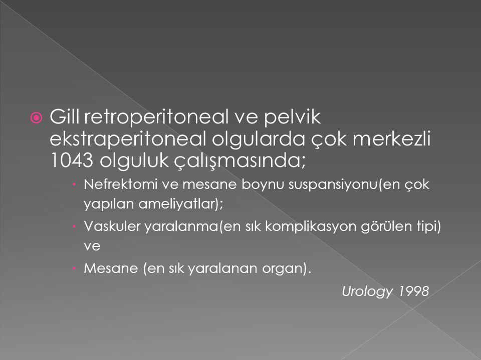 Gill retroperitoneal ve pelvik ekstraperitoneal olgularda çok merkezli 1043 olguluk çalışmasında;