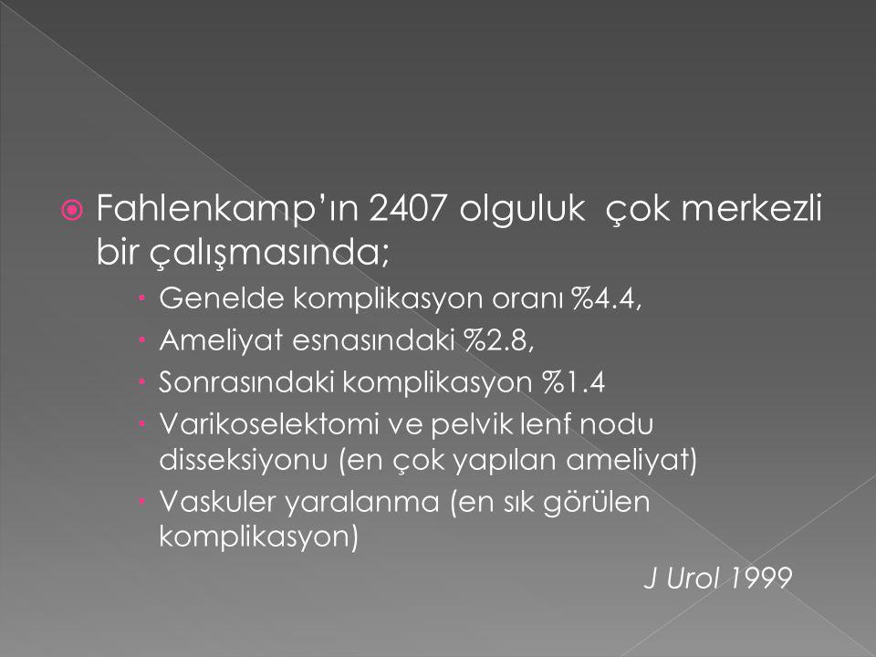 Fahlenkamp'ın 2407 olguluk çok merkezli bir çalışmasında;