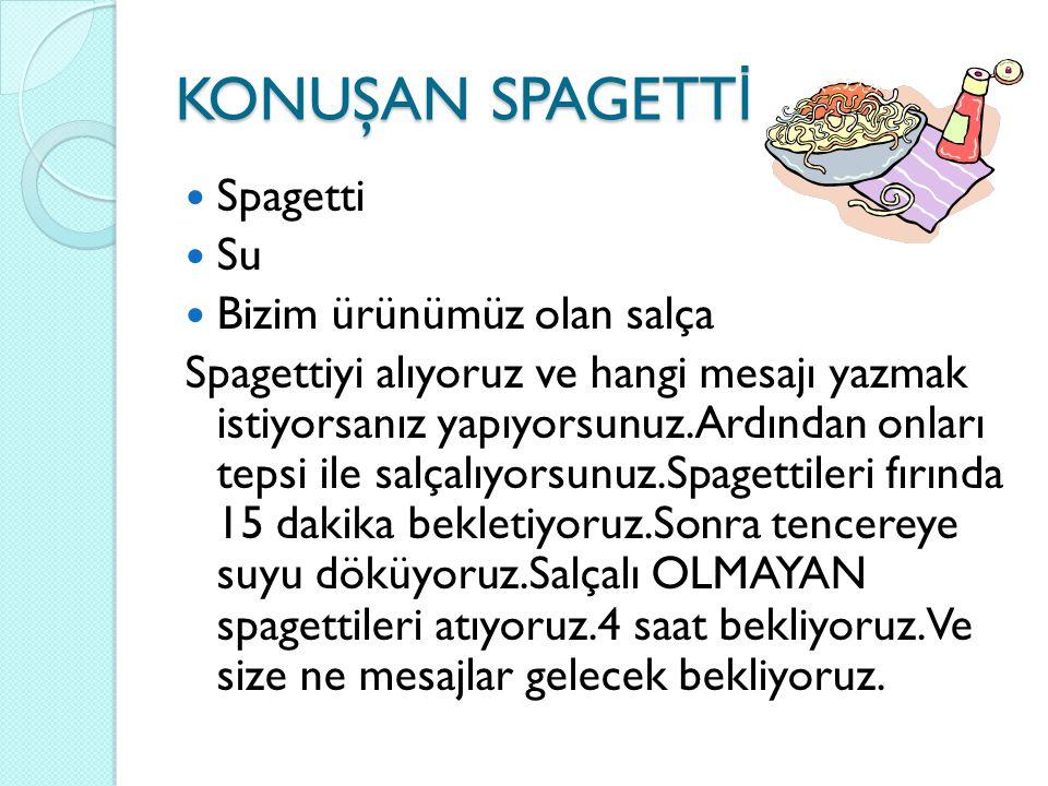 KONUŞAN SPAGETTİ Spagetti Su Bizim ürünümüz olan salça