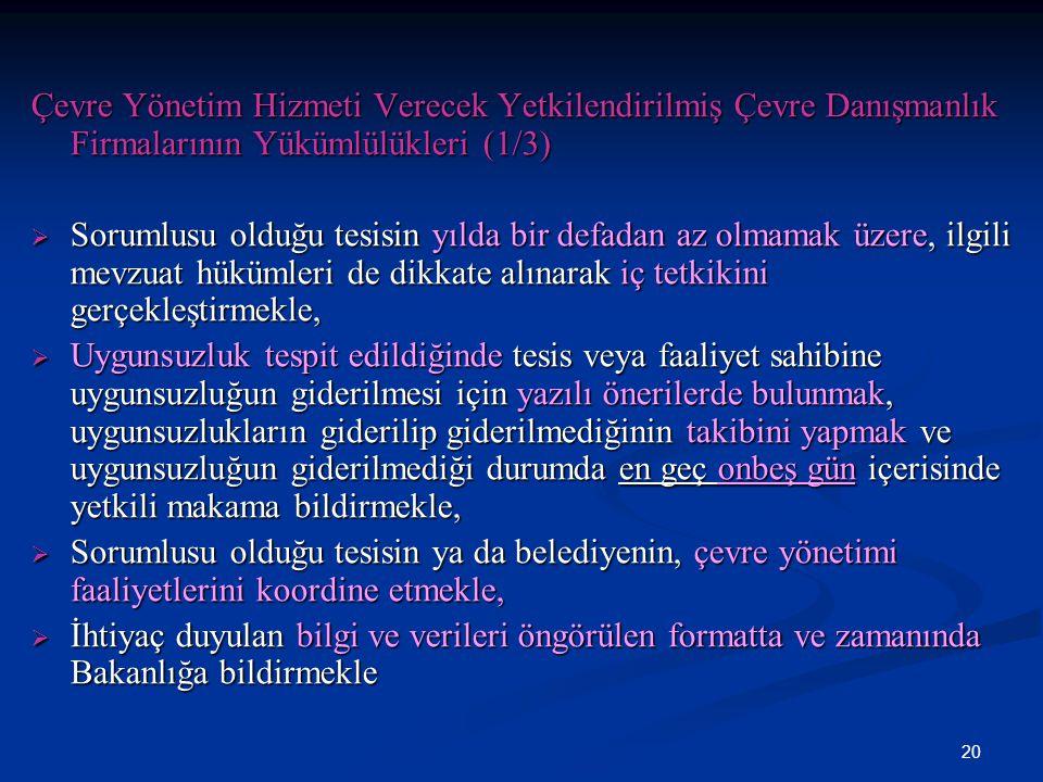 Çevre Yönetim Hizmeti Verecek Yetkilendirilmiş Çevre Danışmanlık Firmalarının Yükümlülükleri (1/3)