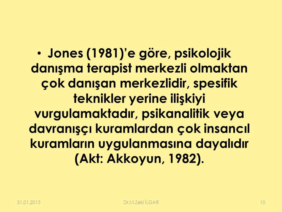 Jones (1981)'e göre, psikolojik danışma terapist merkezli olmaktan çok danışan merkezlidir, spesifik teknikler yerine ilişkiyi vurgulamaktadır, psikanalitik veya davranışçı kuramlardan çok insancıl kuramların uygulanmasına dayalıdır (Akt: Akkoyun, 1982).