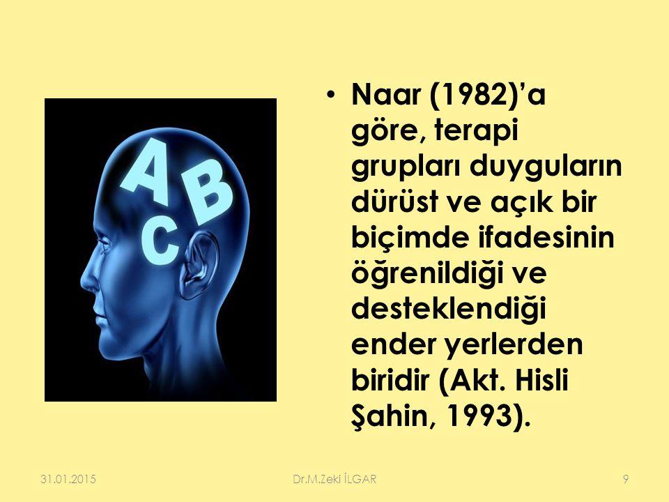 Naar (1982)'a göre, terapi grupları duyguların dürüst ve açık bir biçimde ifadesinin öğrenildiği ve desteklendiği ender yerlerden biridir (Akt. Hisli Şahin, 1993).