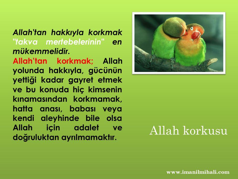Allah tan hakkıyla korkmak takva mertebelerinin en mükemmelidir.