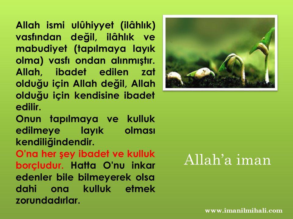 Allah ismi ulûhiyyet (ilâhlık) vasfından değil, ilâhlık ve mabudiyet (tapılmaya layık olma) vasfı ondan alınmıştır. Allah, ibadet edilen zat olduğu için Allah değil, Allah olduğu için kendisine ibadet edilir.
