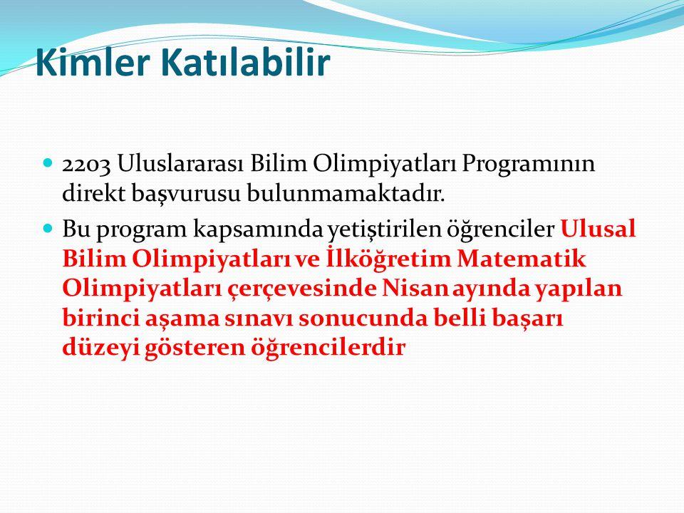 Kimler Katılabilir 2203 Uluslararası Bilim Olimpiyatları Programının direkt başvurusu bulunmamaktadır.
