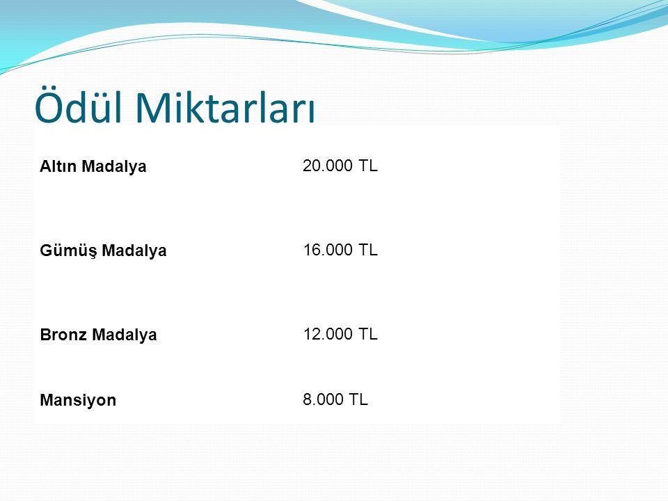 Ödül Miktarları Altın Madalya 20.000 TL Gümüş Madalya 16.000 TL