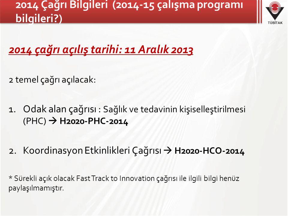 2014 Çağrı Bilgileri (2014-15 çalışma programı bilgileri )