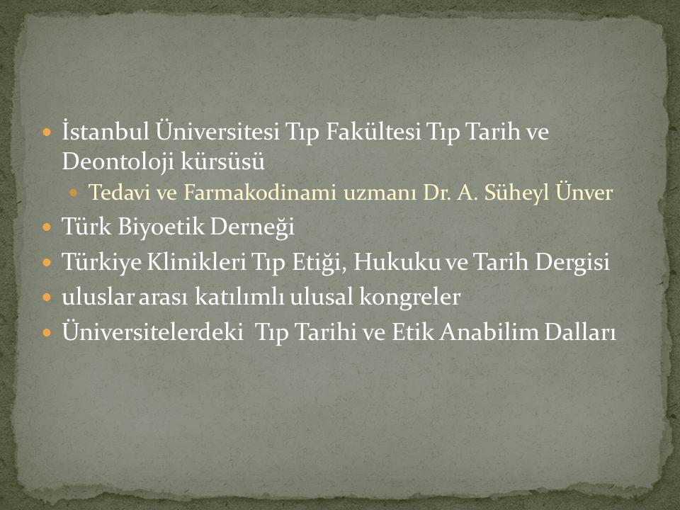 İstanbul Üniversitesi Tıp Fakültesi Tıp Tarih ve Deontoloji kürsüsü