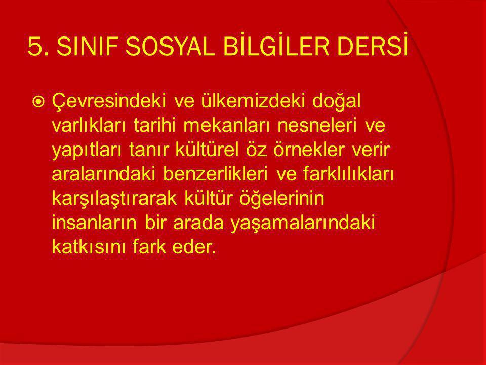 5. SINIF SOSYAL BİLGİLER DERSİ