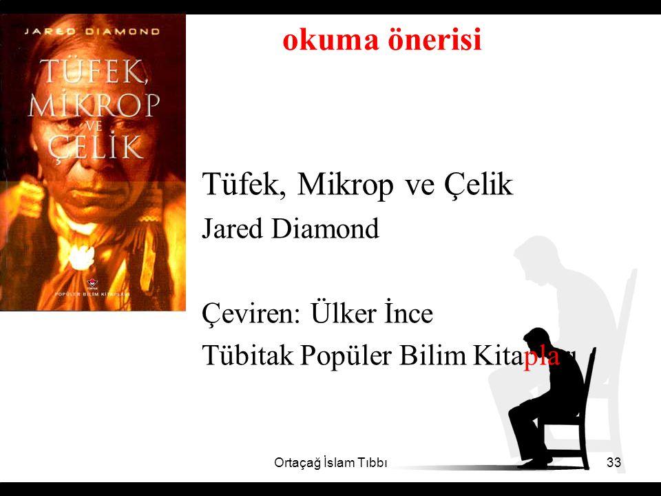 okuma önerisi Tüfek, Mikrop ve Çelik Jared Diamond Çeviren: Ülker İnce
