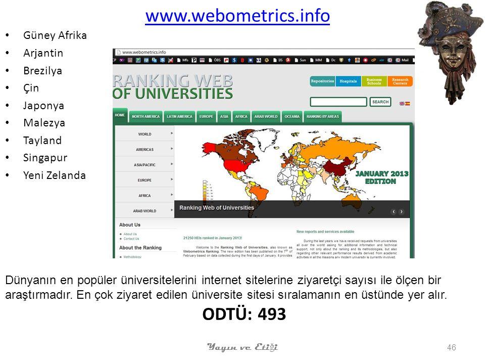 www.webometrics.info ODTÜ: 493 Güney Afrika Arjantin Brezilya Çin