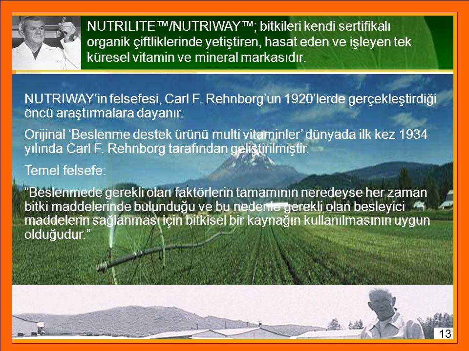 NUTRILITE™/NUTRIWAY™; bitkileri kendi sertifikalı