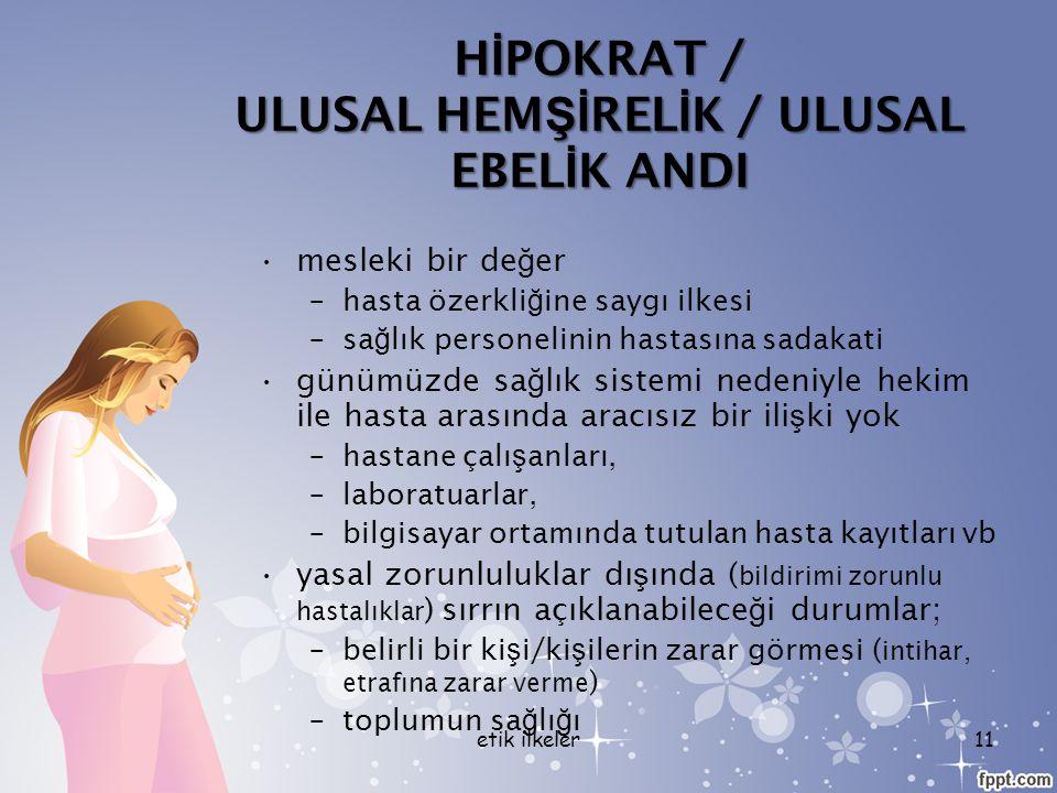 HİPOKRAT / ULUSAL HEMŞİRELİK / ULUSAL EBELİK ANDI
