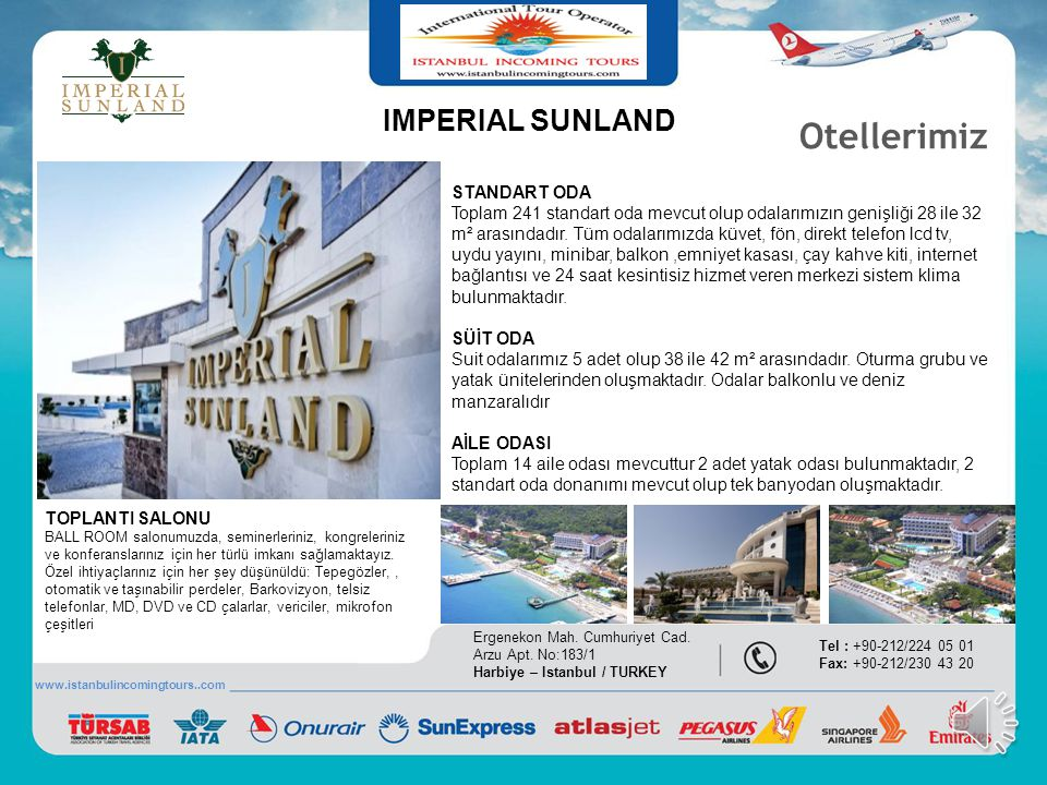 Otellerimiz IMPERIAL SUNLAND STANDART ODA