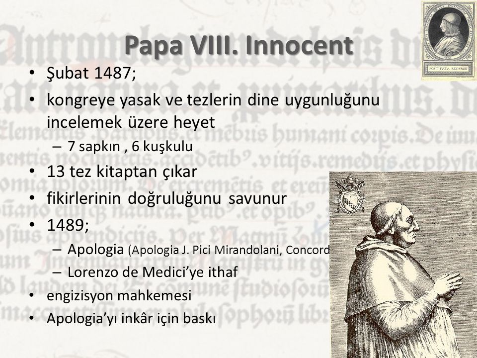 Papa VIII. Innocent Şubat 1487;