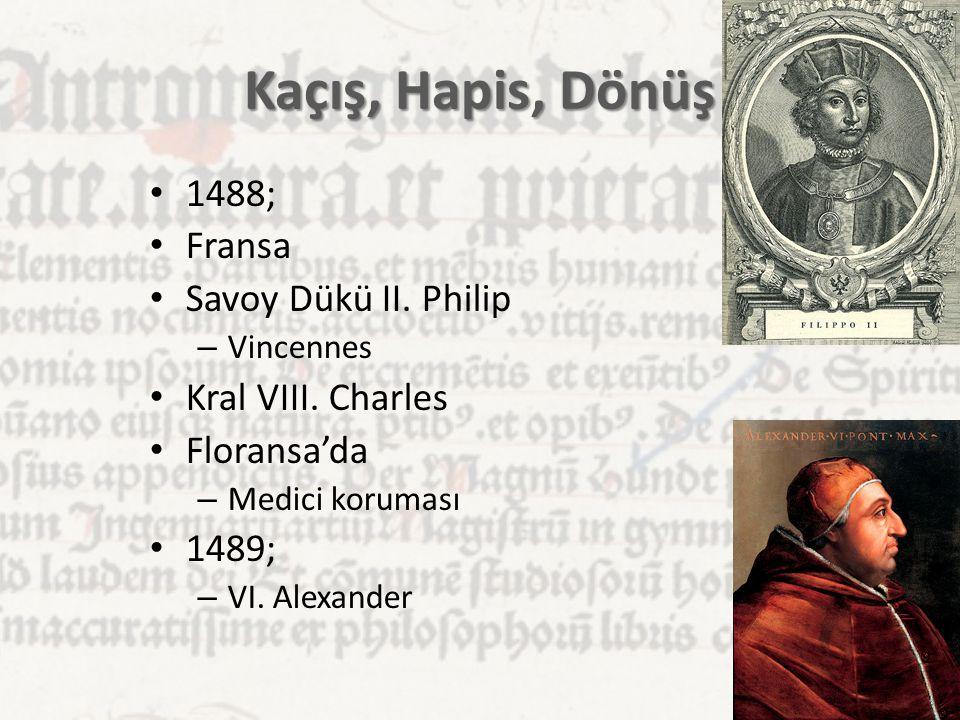 Kaçış, Hapis, Dönüş 1488; Fransa Savoy Dükü II. Philip