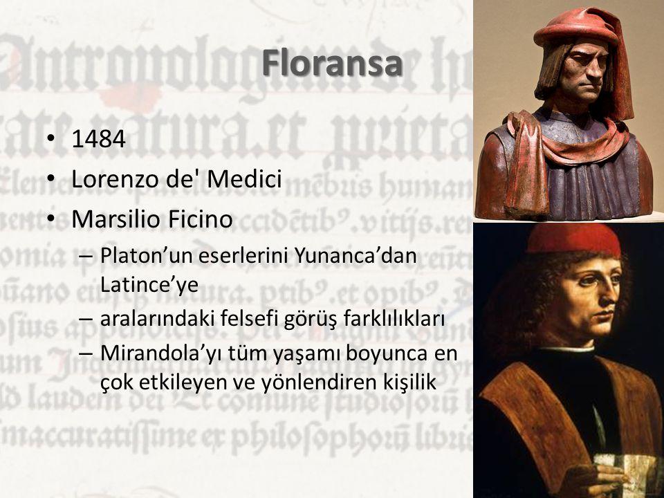 Floransa 1484 Lorenzo de Medici Marsilio Ficino