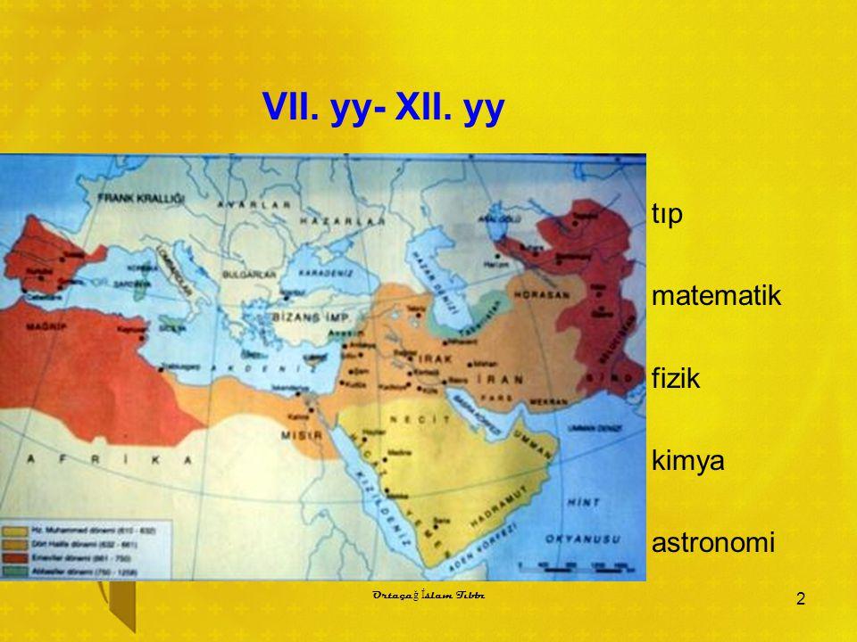 VII. yy- XII. yy tıp matematik fizik kimya astronomi