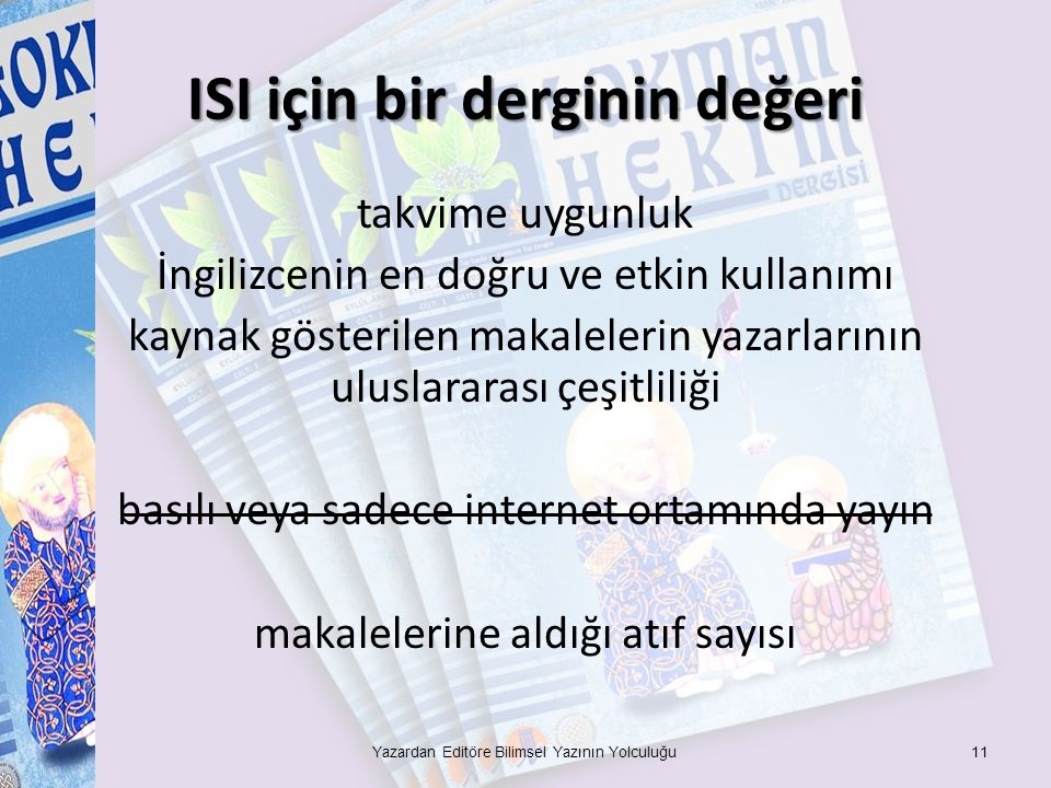 ISI için bir derginin değeri