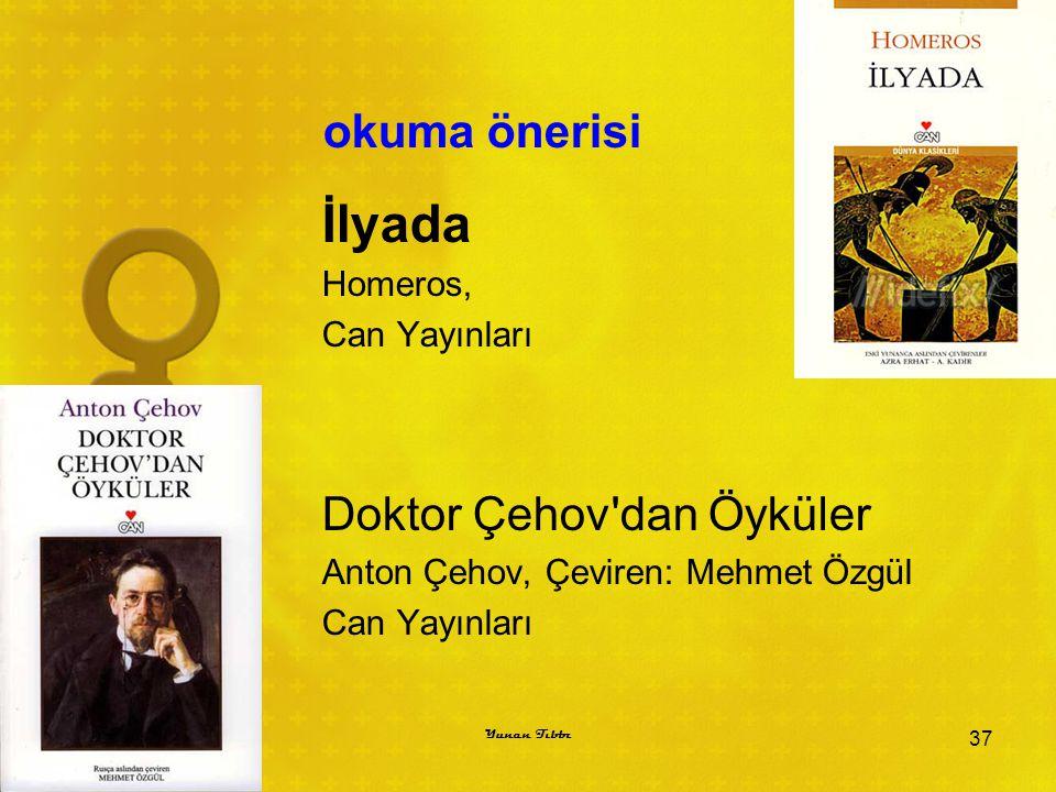 İlyada okuma önerisi Doktor Çehov dan Öyküler Homeros, Can Yayınları