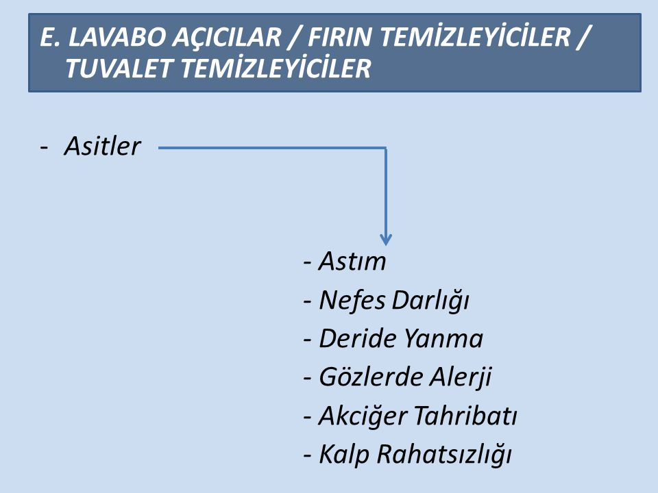 E. LAVABO AÇICILAR / FIRIN TEMİZLEYİCİLER / TUVALET TEMİZLEYİCİLER