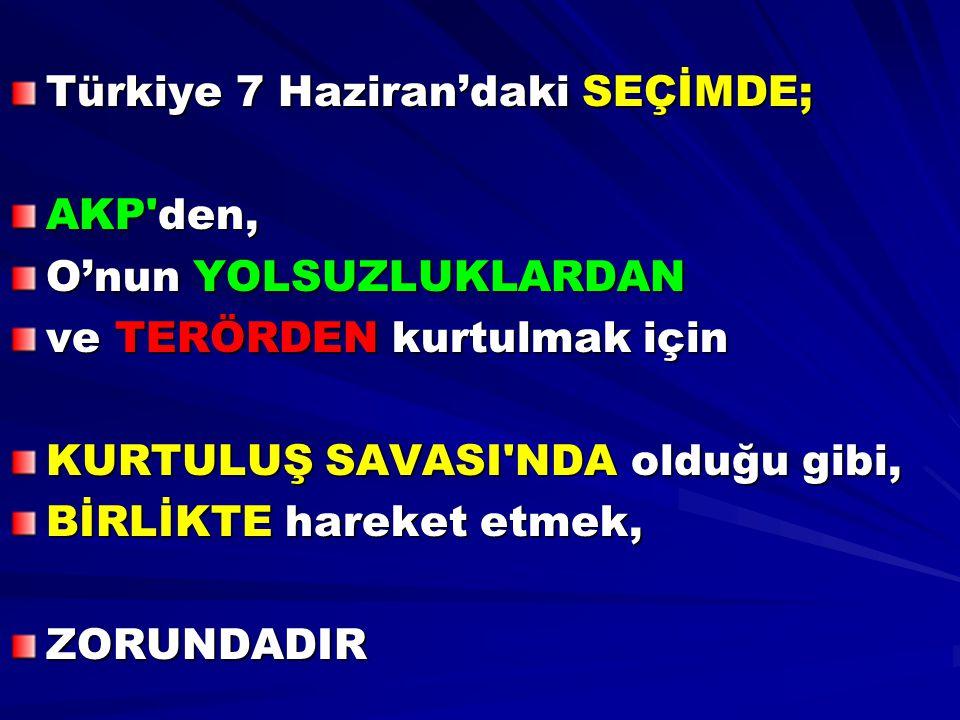 Türkiye 7 Haziran'daki SEÇİMDE;