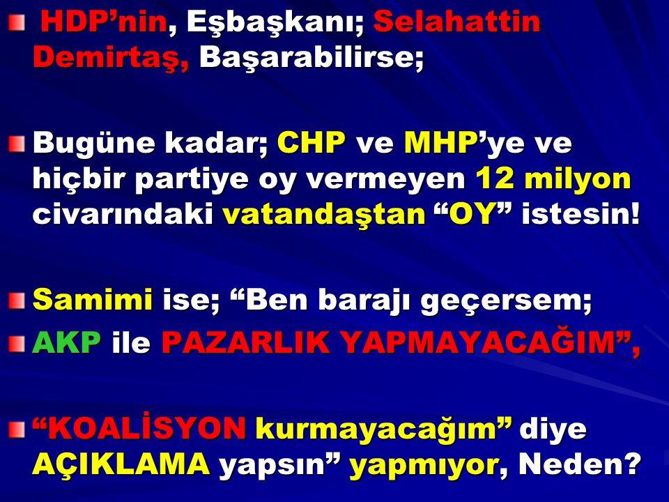 HDP'nin, Eşbaşkanı; Selahattin Demirtaş, Başarabilirse;