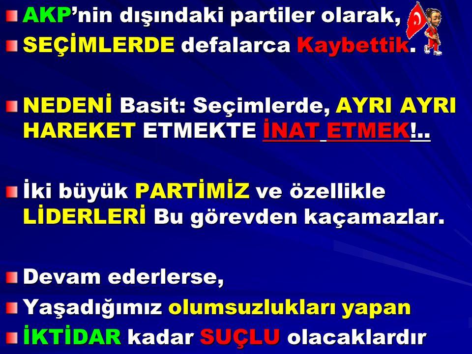 AKP'nin dışındaki partiler olarak,
