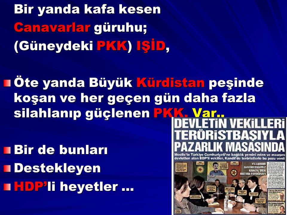 Bir yanda kafa kesen Canavarlar güruhu; (Güneydeki PKK) IŞİD,