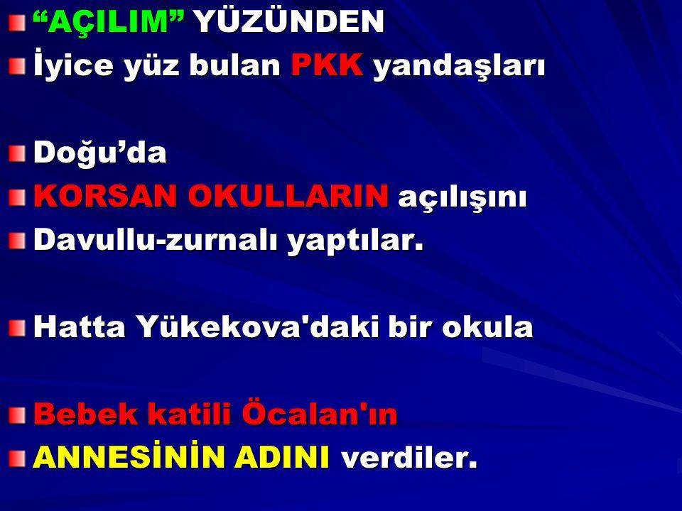 AÇILIM YÜZÜNDEN İyice yüz bulan PKK yandaşları. Doğu'da. KORSAN OKULLARIN açılışını. Davullu-zurnalı yaptılar.