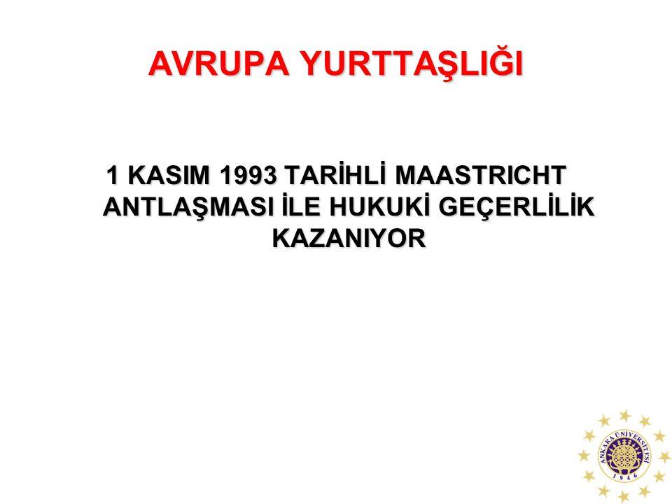 AVRUPA YURTTAŞLIĞI 1 KASIM 1993 TARİHLİ MAASTRICHT ANTLAŞMASI İLE HUKUKİ GEÇERLİLİK KAZANIYOR